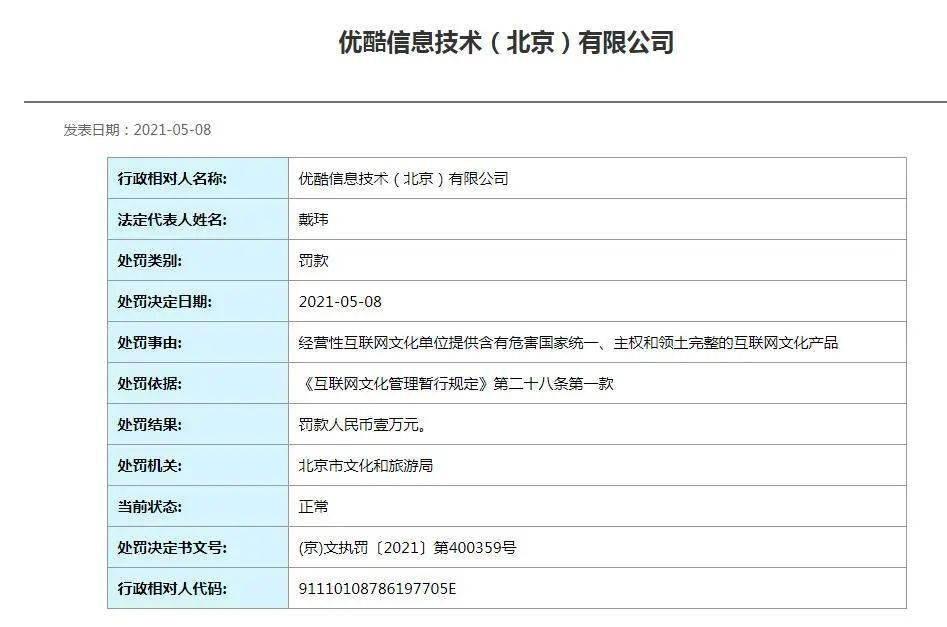 优酷被北京文旅局处罚1万元